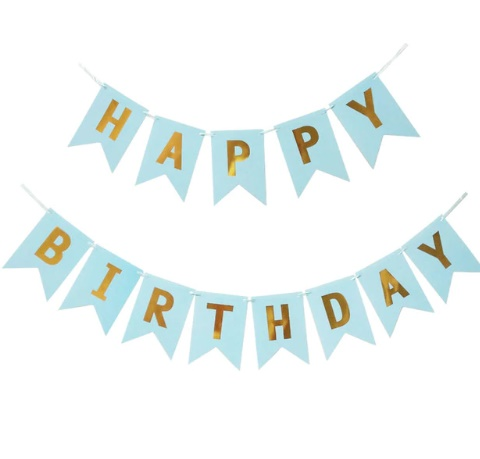 Banner Happy Birthday modrý 20x14cm